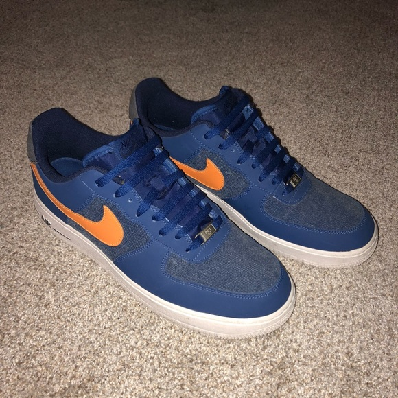 ab13140497c52 Blue and orange denim Air Force ones. M_5b0c5dc78df4701cfb06060a